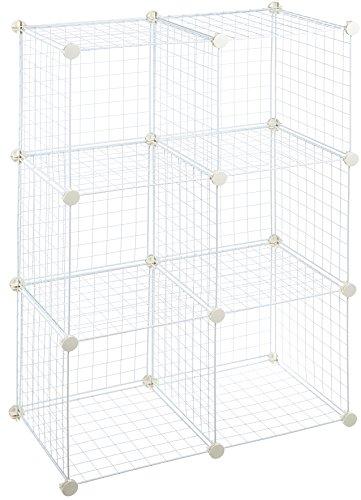 Amazon Basics - Estantes de almacenamiento, Seis cubos, de alambre - Blanco