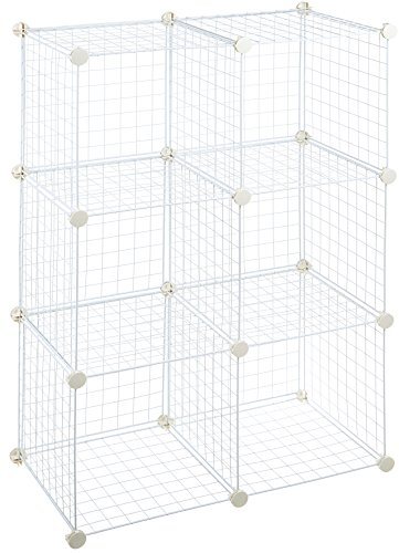 AmazonBasics 6 Cube Grid Wire Storage Shelves, White