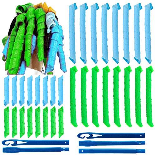 32Pcs Magic Spiral Lockenwickler Set Haarstyling-Werkzeuge Keine Hitze Flexible DIY-Lockenwickler mit Styling-Haken für Frauen Mädchen (Grün und Blau, 30cm/55 cm)