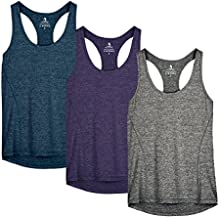 icyzone Workout Tank Tops for Women - Racerback Athletic Yoga Tops, Running Exercise Gym Shirts(Pack of 3)(XL, Royal Blue/Purple/Charcoal)