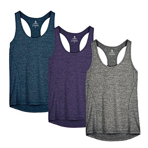icyzone Camiseta de Fitness Deportiva de Tirantes para Mujer, Pack de 3 -M-Azul Real/Morado/Carboncillo