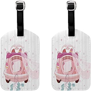 2 PCS Modern luggage tag Wedding Decorations Happy Bride and Groom in Old Fashioned Car Hearts Blue Cans Double-sided printing Light Pink Blue White