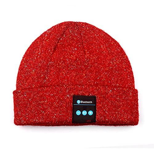 PURPLELU, Música De Punto, Sombrero Inteligente, Color Mezclado De Invierno, Oro Y Rosca Plateada, Tapa Bluetooth Engarce, Adecuado para Escuchar Música/Caminar Al Perro/Esquiar,Rojo