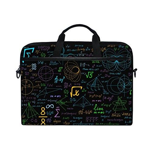 Bolsa bandolera para ordenador portátil de 14 a 15,6 pulgadas, funda con correa ajustable para el hombro de JSTEL y diseño con formas geométricas y símbolos matemáticos multicolor