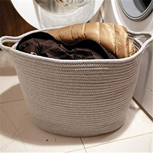 benefit-X Woven Storage Baskets Clothes Basket Bag Blanket Basket Decorative Clothes Hamper Basket Cotton Thread for Toddler Clothes Toy Tray 3 Color 1575x906x866in