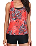 3 Piece Womens Red Floral Tankini Swimsuits with Shorts Athletic Bathing Suits Black Tank Tops with Bra and Boyshorts S