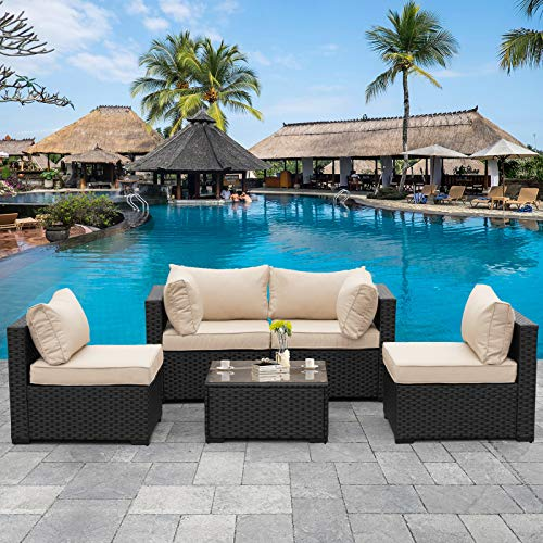 Outdoor Patio PE Wicker 5 Piece Furniture Set, Black Rattan Sectional Conversation Sofa Chair with Coffee Table,Khaki Cushion