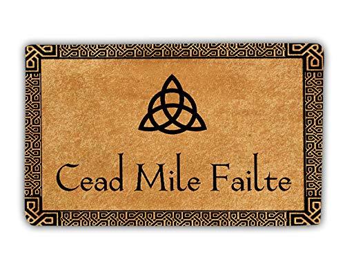 Cead Mile Failte Slainte Irish Shamrock Celtic Knot Ireland Door Mat For Home Entrance With Heavy Duty Back, Welcome Mats Front Door, Outdoor Doormat, Indoor Floor Rug, Entryway Rugs For Shoe Scraper