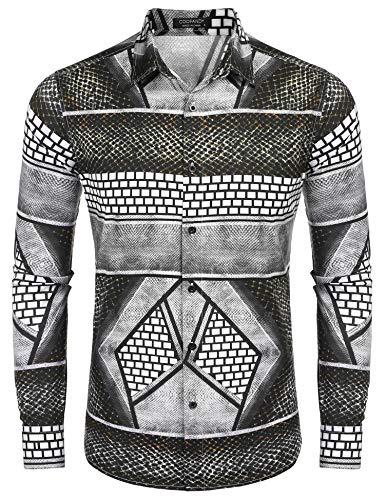 COOFANDY Men's Luxury Dress Shirt Long Sleeve Fashion Graphic Printed Shirts Casual Button Down Shirt Coffee
