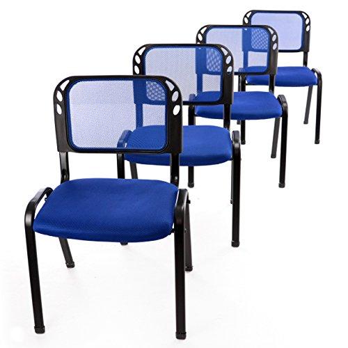 Nexos 4er Set Bürostuhl Konferenzstuhl Besucherstuhl blau gepolsterte Sitzfläche stapelbar 52,5 x 45 x 80 cm Stapelstuhl Metallrahmen schwarz