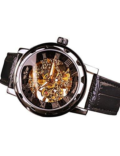 Winner Unisex Hombres Creativo Retro mecánica Classic Reloj de Pulsera Fashion Steampunk Esqueleto