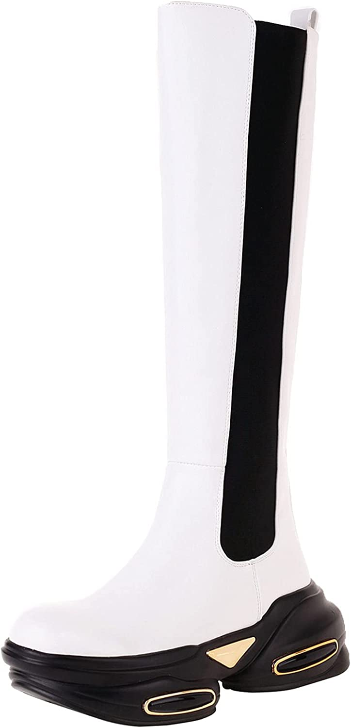 vivianly Chunky Platform Knee High Boots Round Toe Mid Calf Boots Pull-on Zipper Ankle Booties for Women