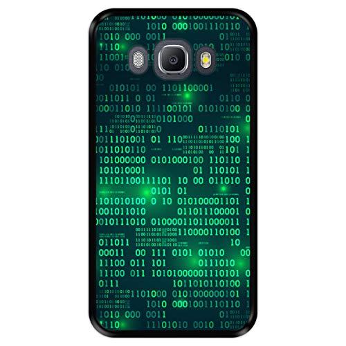 Hapdey Funda Negra para [ Samsung Galaxy J5 2016 ] diseño [ Matriz Digital ] Carcasa Silicona Flexible TPU