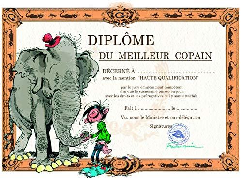 Gaston Lagaffe Diplom Karte des besten Freundes Freundin Pote – Freundschaft Elefant – für Jungen und Herren