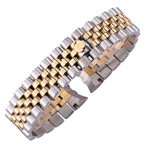 ZZDH Correas Relojes Acero Inoxidable Correa de Banda de Reloj de Acero Inoxidable 20 mm Hombres Metal Reloj de Metal Banda Curved Fin Silver Women Link Sólido Pulsera Accesorios