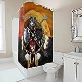 kikomia Wasserdicht Duschvorhang Indianer Wolf Traumfänger Druck Duschvorhänge für Badezimmer white 200x180cm