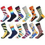 Bonangel Men's Fun Dress Socks-Colorful Funny Novelty Crew Socks Pack,Art Socks (12 Pairs-pattern 6)