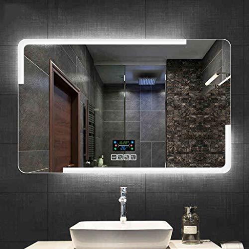 ATO ROMX LED Badspiegel 80x60cm Beleuchtung Badezimmerspiegel Wandspiegel mit Bluetooth 4.1 Lautsprecher, Touch-Schalter, Beschlagfrei, Uhr Temperaturanzeige