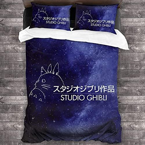 CUICUI Totoro Juego de ropa de cama, adecuado para todas las estaciones, juego de ropa de cama, sin edredón (Totoro7, 200 x 200 cm, 80 x 80 cm x 2)