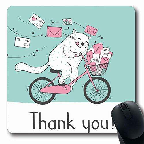 Mousepads für Computer Längliche Form Schauen Sie Sie glücklich Katze Postbote auf Fahrrad Dokumente Hand Danke Mitarbeiter Charakter Niedliche Adresse Design rutschfeste längliche Gaming Mouse Pad
