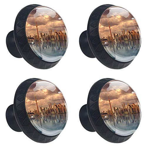 Toronto Scenery Buliding 4 Packs Kitchen Cabinet Knobs,Pulls Cupboard Handles Dresser Drawer Door Knobs Hardware with Screws