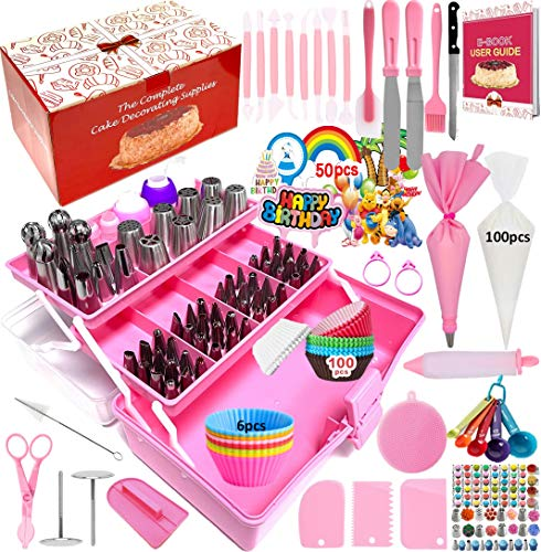 Cake Decorating Supplies 359-Piece Piping Bags and Tips Set Cake Decorating Kit with 60 Piping Tips Cake Decorating Tools with Multi-Purpose 3-Layer Toolbox with Tray