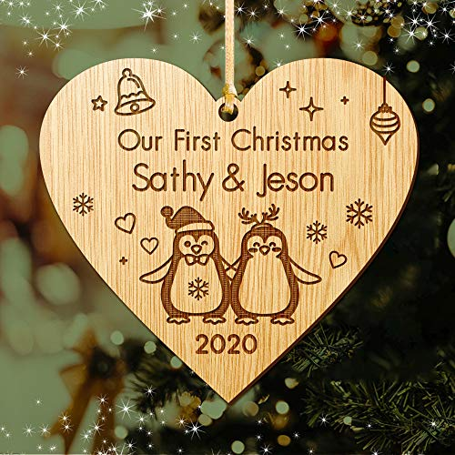 EDSG Personalised Christmas Tree Bauble | First Xmas Decoration for New Couple,1st Christmas as Mr.&Mrs | Santa Gift | Wooden Christmas Tree Ornament for Newly-wed Hand Finished in UK