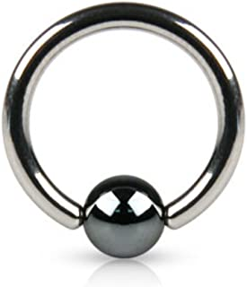 WildKlass Ring w/Hematite Plated Bead from 18ga to 10ga (Sold by Piece)