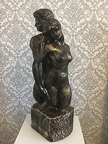 Figura decorativa de busto Adam y Eva pintada a mano