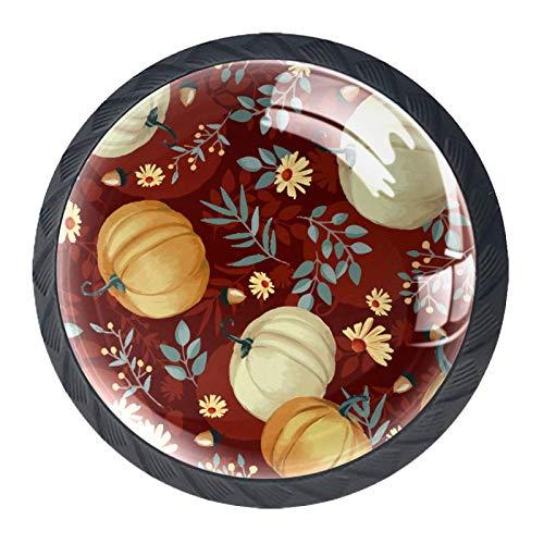 4 pomos de cristal con diseño de calabazas con color granate para cajones y cajones, con tornillos para cocina, armario, aparador, armario