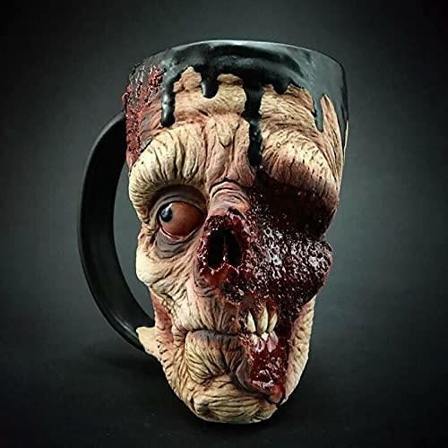 HJTLSKBZ Decoración de Halloween: Tazas de café con Cabeza de Zombi, Tazas/Taza de café macabras de Zombis 3D, Taza de café de Halloween, decoración de Terror, Figura de utilería para Fiestas-C