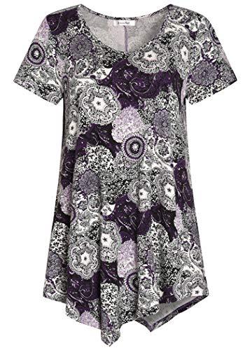 Esenchel Women's V-Neck Swing Shirt Casual Tunic Top for Leggings L PurplePaisly