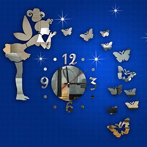 Espejo Pegatinas de pared Mariposa Hada DIY Reloj Autoadhesivo Extraíble Decoración para el...