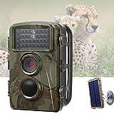 YGWLWL Caméra Mini Wildlife,Caméra De Chasse Étanche IP66,Caméra De Piste HD 12MP/720P avec Vision Nocturne Infrarouge LED 34PCS Et Panneau Solaire,Caméra De Jeu À Champ De Vision Grand Angle De 70°