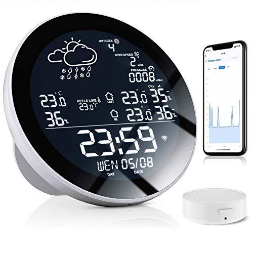 Estación meteorológica digital inalámbrica,YINAMA con reloj Pantalla LCD para interiores y exteriores (sensor externo), con recordatorios de clima