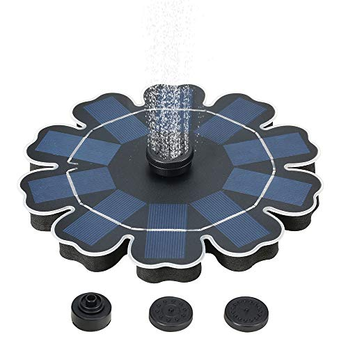 Decdeal Solar Fountain Pump with Battery Backup, 2.5W Freestanding Brushless Water Pump for Outdoor Bird Bath Garden Pond Pool, Flower Shaped, New Version
