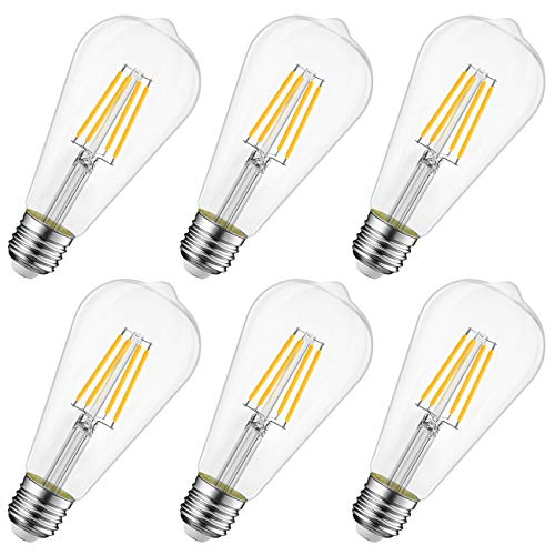 8W Ampoule LED Filament E27 ST64, Equivalent à Ampoule Incandescente 60W, Ampoule Rétro Edison, 806LM 2700K Blanc Chaud, Non-dimmable, Lot de 6, LVWIT