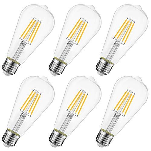 LVWIT 6.5W E27 Filament LED Glühfaden ST64, 2700K Warmweiß, Ersatz für 60W Glühlampe, ultrahell 806 lm, Rustikalampe in Kolbenform, Filamentstil klar (6er Pack)