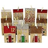 Papierdrachen Juego de calendario de Adviento DIY de papel de estraza – Casitas para colorear – con 24 bolsas de papel impresas marrones para colorear y rellenar, Navidad 2019