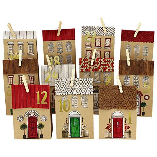 Papierdrachen DIY Adventskalender Kraftpapier Set - Häuser zum Ausmalen - mit 24 braunen bedruckten Papiertüten zum Ausmalen und selbst Befüllen - Weihnachten 2021