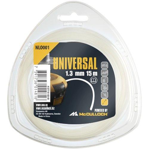 Universal GM577616301 NLO001 de corte de repuesto para recortadora de césped, longitud 15 m, hilo Ø 1,3 mm, nailon resistente al desgarro, accesorios McCulloch, Standard, 1.3Mm X 15M
