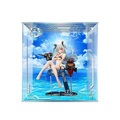SUH Azul Carril Príncipe Eugen Traje de baño Hermosa Joven Modelo Display Box diseño único LED Marco de la exhibición Hecha a Mano de PVC Figura Modelo GK Display Cubierta de la Caja de Polvo