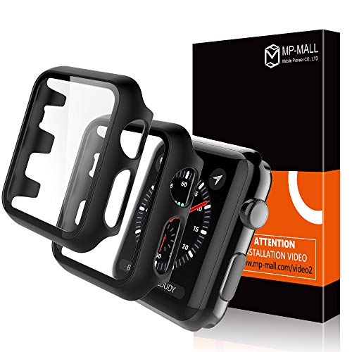 MP-MALL【2 Pack】 Apple Watch Case for 42mm Series 3/2/1 Tempered Glass Screen Protector Cover, Full Protection Hard PC Protective Case for iWatch 42mm