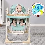 Fall Trona para Bebé, Tronas para bebés con Bandeja Doble Desmontable, reclinable, Plegable, Altura Ajustable, Adecuado para bebés de 3 Meses a 4 años