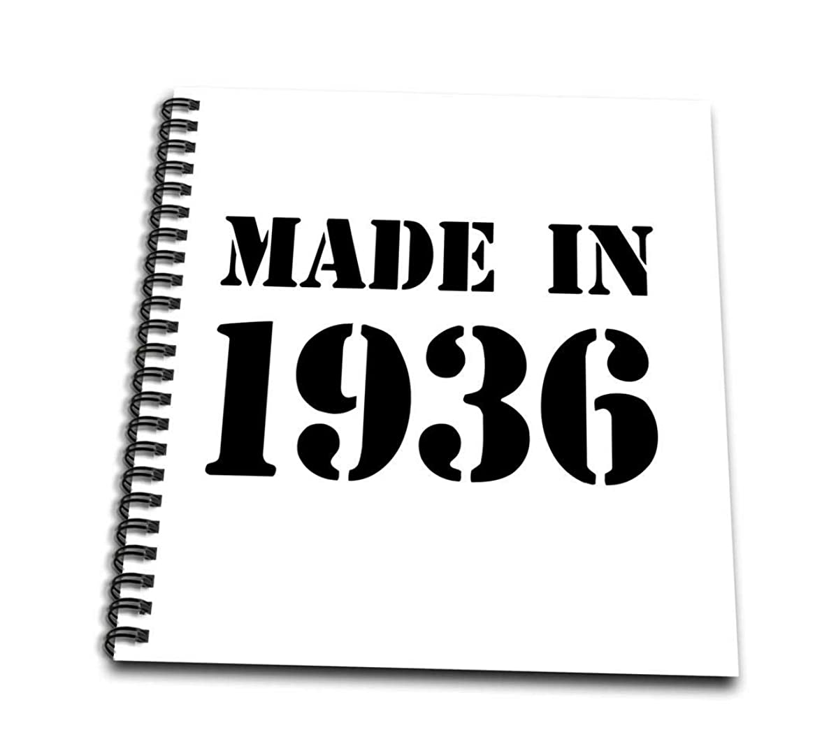 3dRose db_162702_3 Made in 1936 Funny Birthday Birth Year Text Fun Black Birthday Stamp with Year You were Born Humor Mini Notepad, 4