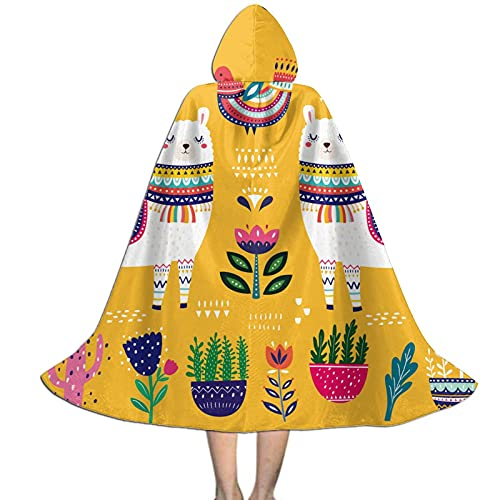 Cute Cartoon Llama Kids Hooded Cloak Cape For Halloween Party Role Play Cosplay Costume For Kids Boys Girls
