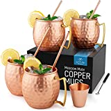 Zulay Copper Mugs Moscow Mule Set Of 4 - 16oz Handcrafted Moscow Mule Mugs with Hammered Finish - Pure Solid Copper Moscow Mule Cups Set Of 4 Includes 1 Shot Glass, 4 Straws & 1 Cleaning Brush