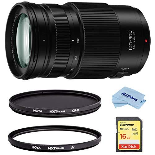 Panasonic LUMIX G II Vario 100-300mm f/4.0-5.6 Lens, Mirrorless Micro Four Thirds, Power O.I.S. Bundle Hoya NXT Plus 58mm 10-Layer HMC Multi-Coated Circular Polarizer + UV Lens Filter, 16GB SD Card