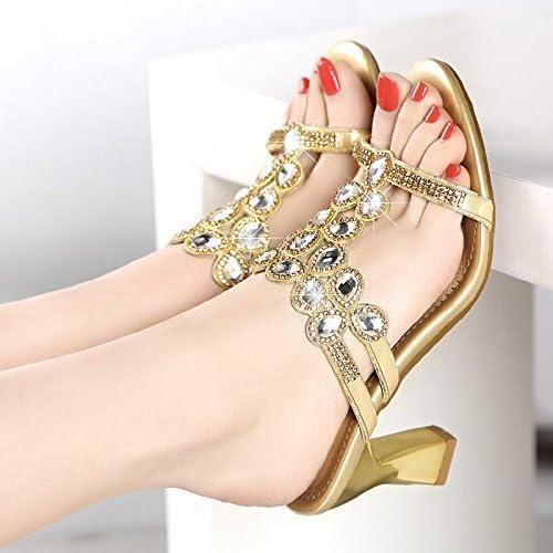 KHSKX-High Heeled Pantoufles Summer Diamond Avec D'épais Avec Un Diahommet Des Sandales Des Sandales
