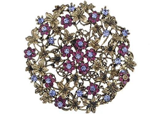Alilang Tono de oro Vintage morado Amatista diseño de flores de diseño de flores broche con forma de cilindro de Pin Medallion